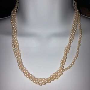 Vintage Multi layered pearl rose colored necklace